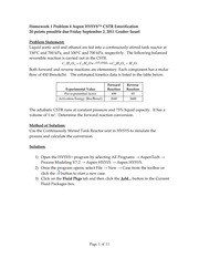Homework 1 Problem 4 Aspen HYSYS CSTR Esterification