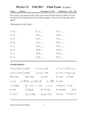 Final Exam Solution Fall 2011