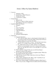 "essay questions on sonnys blues (also think about where ""sonny's blues"" ends and what this could symbolize)  read the second paragraph carefully and examine the imagery of."