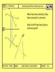 ES 1 10 - Intersecting and Non-Intersecting Lines