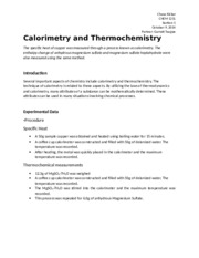 Chemistry Lab 8 - Calorimetry and Thermochemsitry