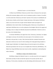 Paper on Federalist Framers vs. the Anti-Federalist