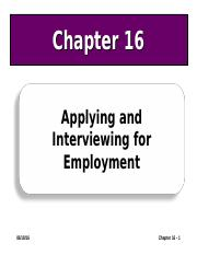Ch 16 Applying and Interviewing for Employment.ppt