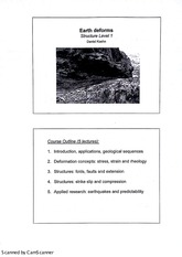 Structural Geology Earth Deforms Lecture Notes