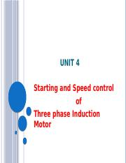Unit 4 Starting & Speed control of 3ph Induction Motor