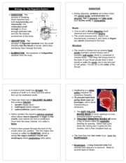 Biology 12 Digestion Study Guide