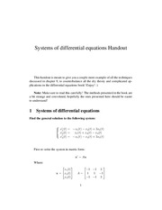 Systems of Differential Equations Handout