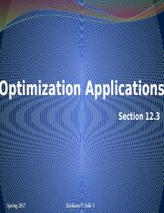 Optimization Applications Section 12.3 (1)