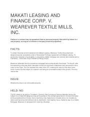 CD MAKATI LEASING AND FINANCE CORP V WEAREVER TEXTILE MILLS INC