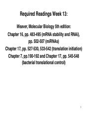Lectures 20 21 Part 1 Required Readings Week 13 Weaver Molecular
