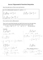 Inverse Trigonometric Functions Integration Notes