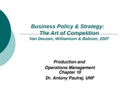 Strategic Management and Business Policy Chapter 10 Power Point