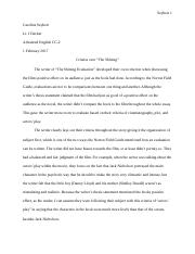 One Page Evaluation Essay The Shining 1