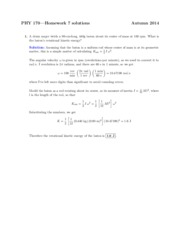 Solutions for Homework on Rotational Motion and Center of Mass