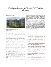 Final panel added to China's FAST radio telescope