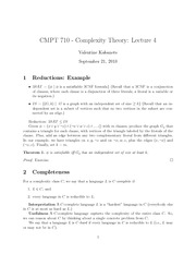 CMPT 710 Complexity Theory Reduction Notes