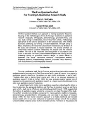 The Five-Question Method For Framing A Qualitative Research Study, by Mark L. McCaslin