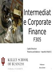3. Capital Structure Imperfections 1 Instructor