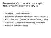Dimensions of the consumers perception related with the quality of a service