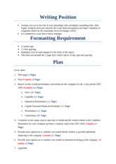 Financial Statement Analysis Project Plan
