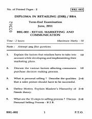 (www.entrance-exam.net)-IGNOU Diploma in Retailing-Retail Marketing and Communication Sample Paper 1