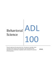 ADL 100 - BEHAVIOURAL AND ALLIED SCIENCES Material