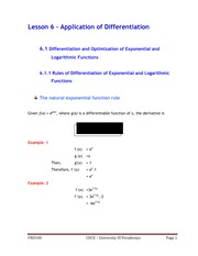 LESSON 6 - APPLICATION OF DIFFERENTIATION