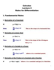 Lecture 2 - Rules for Differentiation