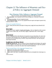 Chapter 21 The influence of monetary and fiscal policy on aggregate demand