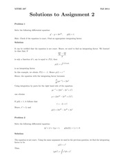 MTHE 237 Fall 2014 Assignment 2 Solutions