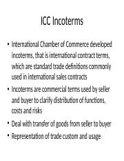 Chapter IV ICC Incoterms