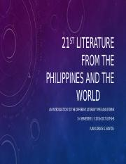 21st literature from the Philippines and the world