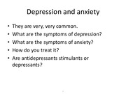Depression and anxiety notes