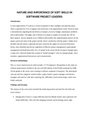 NATURE AND IMPORTANCE OF SOFT SKILLS IN SOFTWARE PROJECT LEADERS