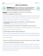 Mitosis vs. Meiosis worksheet.doc   Name Date Period ...