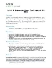 Neehr Perfect EHR Level III Scavenger Hunt-The Power of the EHR v6