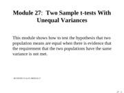 MODULE 27 Two Sample t-tests when Variances Unequal 19 July 05