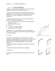 IB PHYS 11 Vector Addition Notes