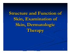 Lecture 1 - Exam of Skin-Derm Therapy FINAL