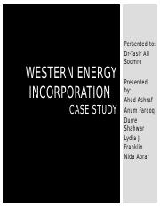 Western Energy Incorporation Case Study