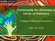 Community for Diversity preesntation July 19, 2010