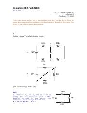 Circuit Theory - PHY301 Fall 2003 Assignment 02 Solution