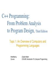 Topic 1 Overview of Programming Languages