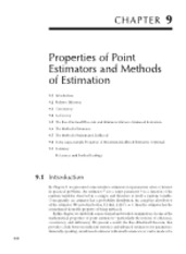 Chapter 9 Properties of Point Estimators and Methods of Estimation