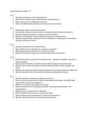 Study Objectives Chapters 1-9