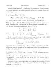 Quiz 4 Solution Fall 2011 on Multivariable Calculus