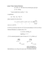 Lecture 7 Notes Statistical Mechanics