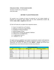 Informe Plan De Produccion