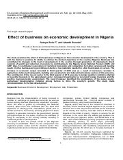 Effects of Business on Nigeria Economy Journal