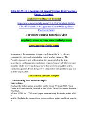 CJA 355 Week 3 Assignment Grant Writing Best Practices Paper (2 Papers).doc